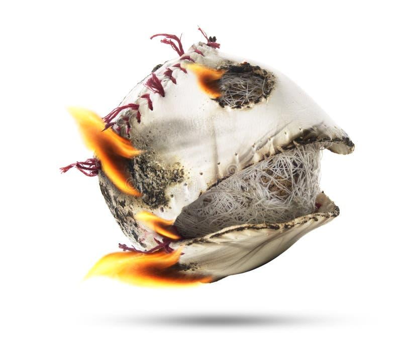 Het geïsoleerde Honkbal van de Brandvlam stock foto's