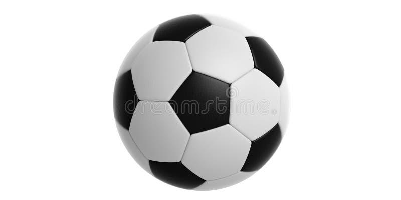Het geïsoleerde knipsel van de voetbalvoetbal bal op witte achtergrond 3D Illustratie stock illustratie
