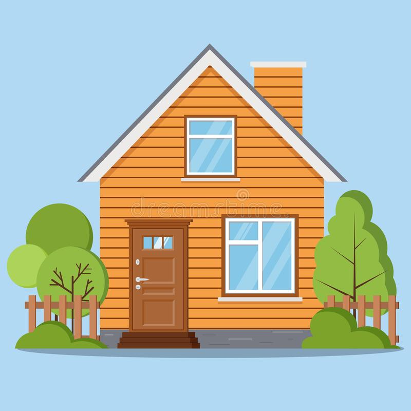 Het geïsoleerde landelijke landbouwbedrijf woofen huis met omheining, schoorsteen, zolder, vensters, deur vector illustratie