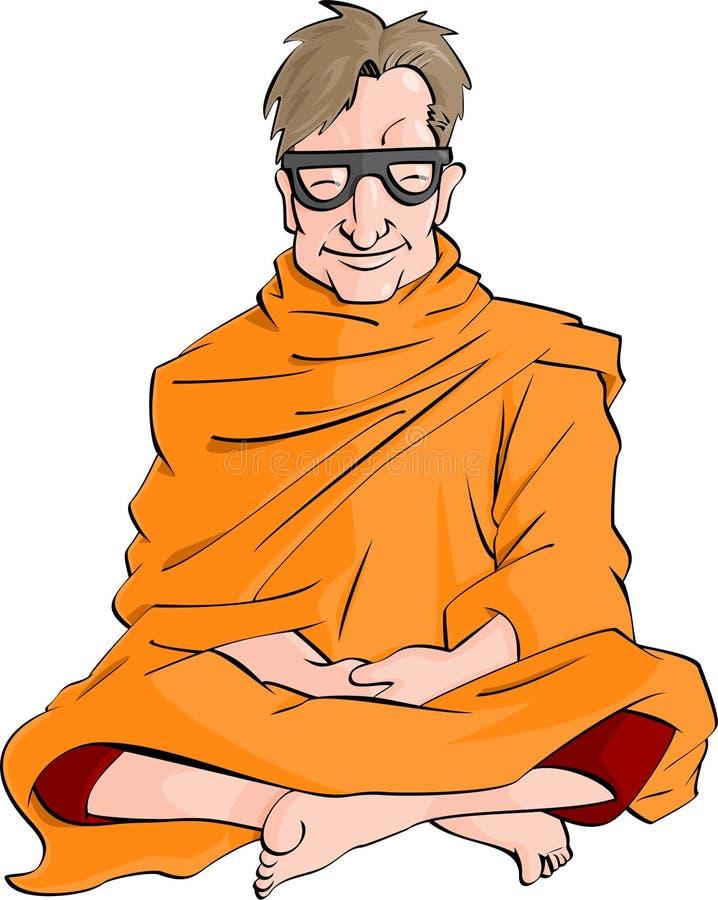 Het geïsoleerde nerd mediteren stock illustratie