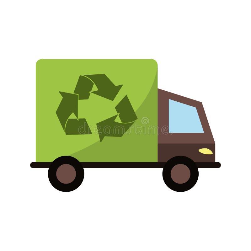 Het geïsoleerde ontwerp van de ecovrachtwagen vector illustratie