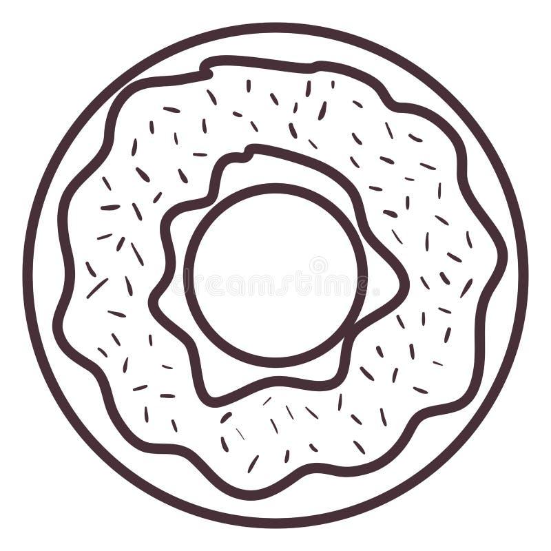 Het geïsoleerde ontwerp van het doughnutsilhouet vector illustratie
