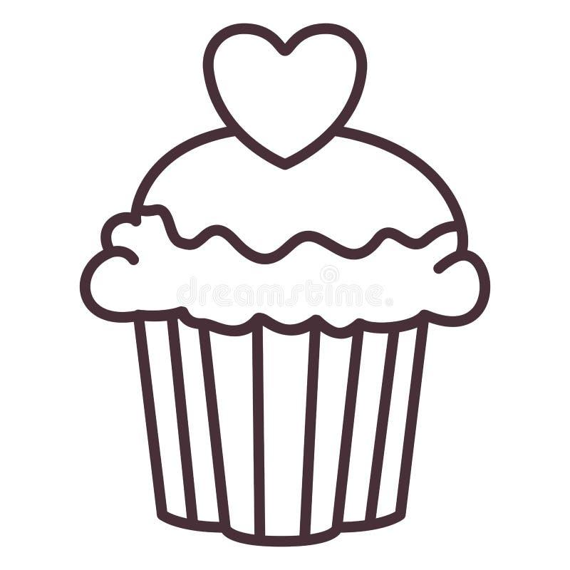 Het geïsoleerde ontwerp van het muffinsilhouet royalty-vrije illustratie