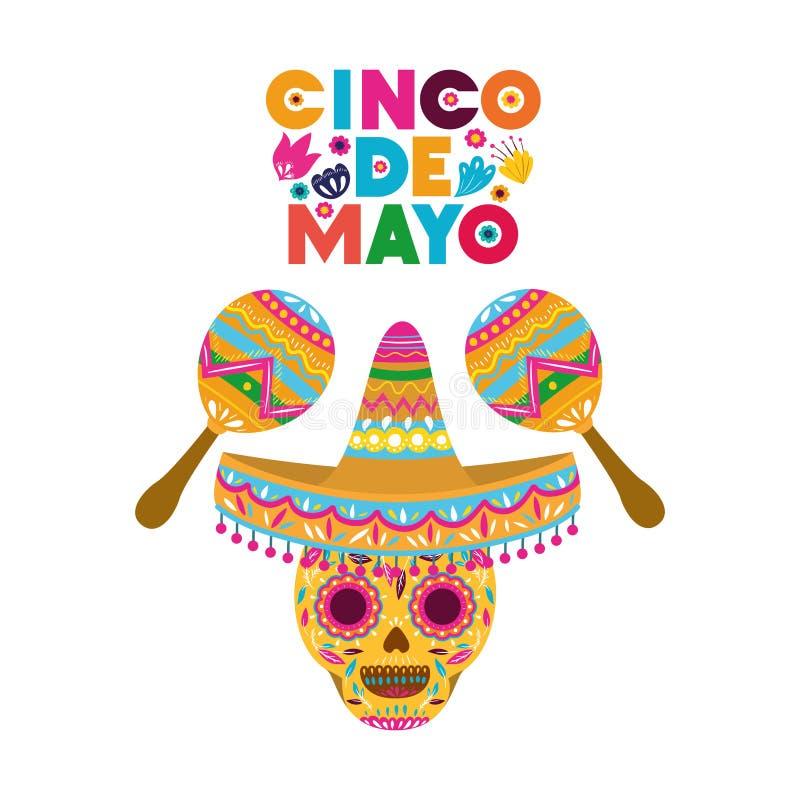 Het geïsoleerde pictogram van het Cincode Mayo etiket schedel stock illustratie