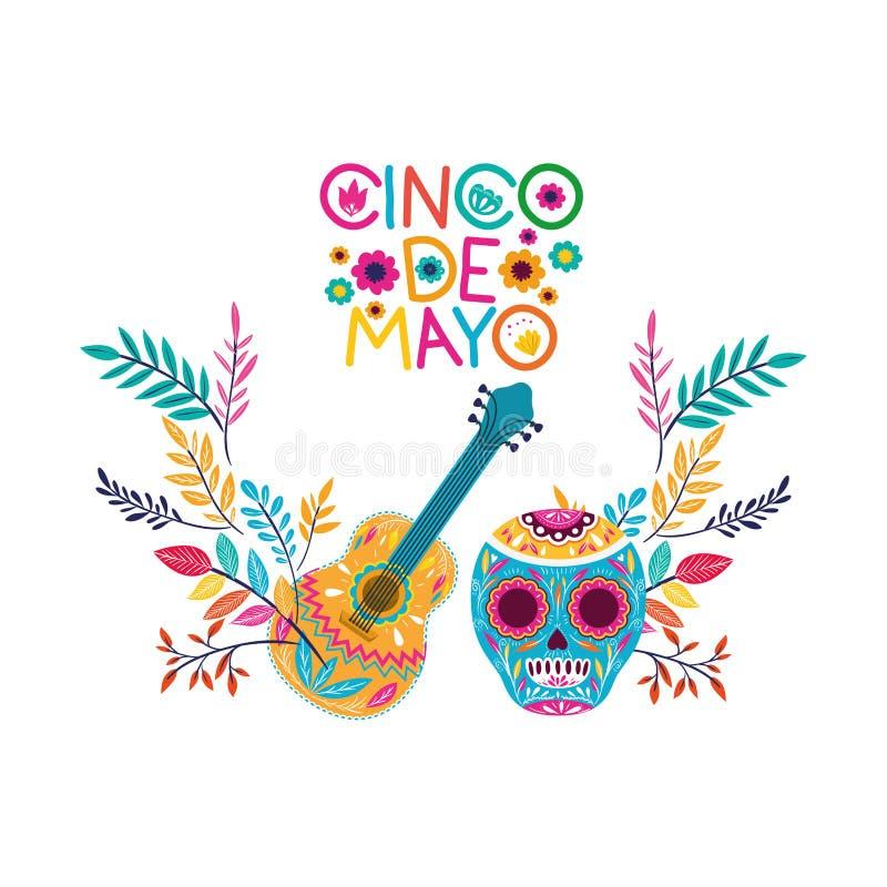 Het geïsoleerde pictogram van het Cincode Mayo etiket schedel royalty-vrije illustratie