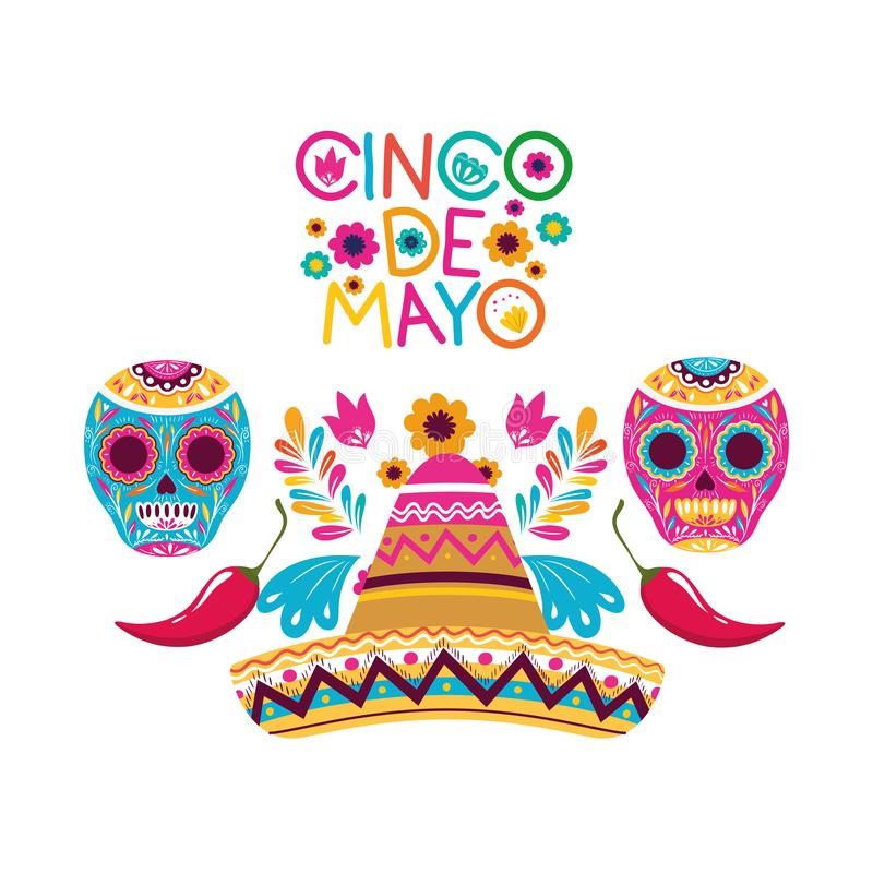 Het geïsoleerde pictogram van het Cincode Mayo etiket schedel vector illustratie