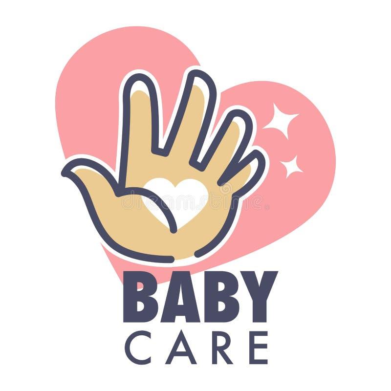 Het geïsoleerde pictogram van de babyzorg de dienst met hart en menselijke palm stock illustratie