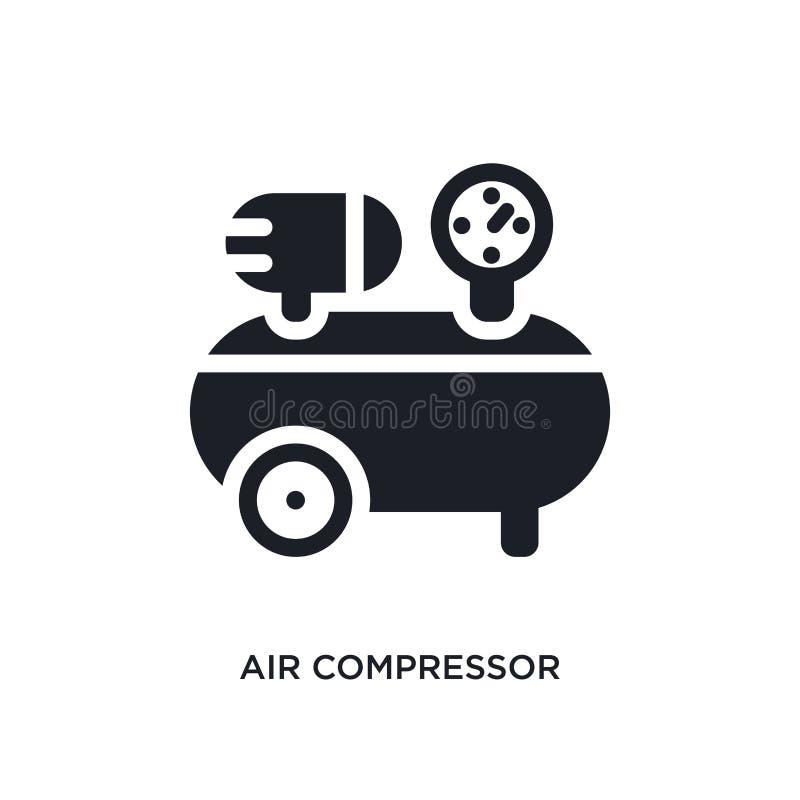 het geïsoleerde pictogram van de luchtcompressor eenvoudige elementenillustratie van de pictogrammen van het bouwconcept editable royalty-vrije stock fotografie