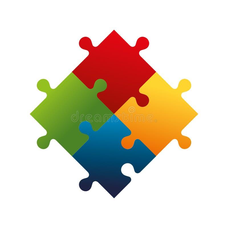 het geïsoleerde pictogram van het raadselspel stukken vector illustratie