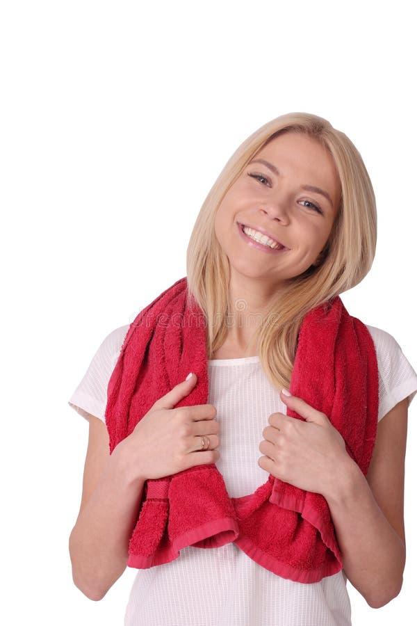 Het geïsoleerde portret van de geschiktheidsvrouw met handdoek stock afbeeldingen