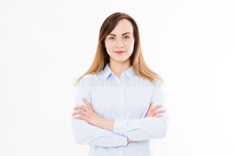 Het geïsoleerde portret van glimlachende bedrijfsvrouw, meisje met kruiste a stock foto