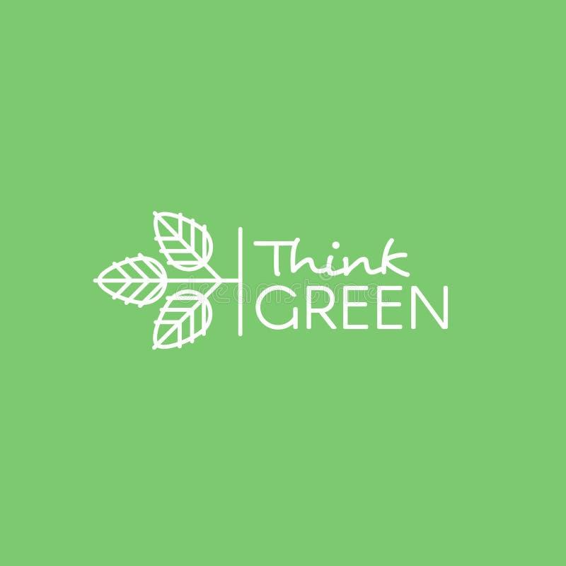 Het geïsoleerde Vector de Illustratieembleem van de Pictogramstijl met doorbladert Denk Groen, ga Groen, Eco, Veganist en Vegetar royalty-vrije illustratie