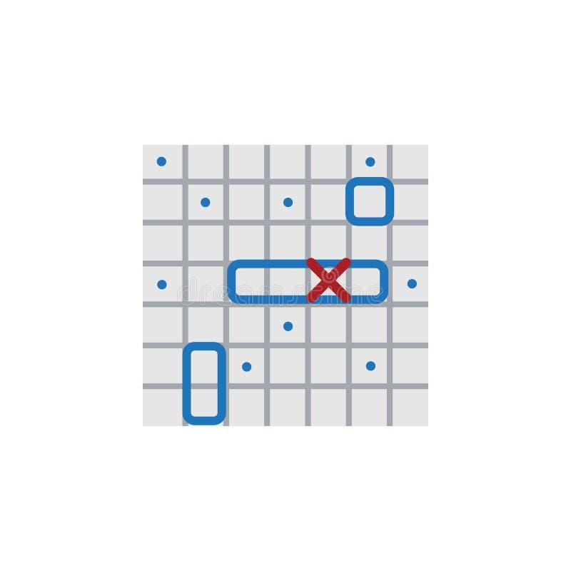 Het geïsoleerde Vlakke Pictogram van het Slagschip Het overzeese Strijd Vectorelement kan voor Schip, Slag, het Concept van het S stock illustratie