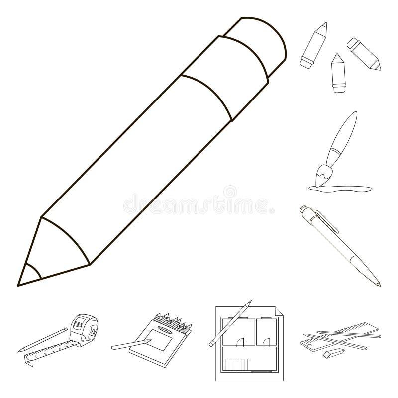 Het geïsoleerde voorwerp van potlood en scherpt embleem Inzameling van potlood en het symbool van de kleurenvoorraad voor Web royalty-vrije illustratie