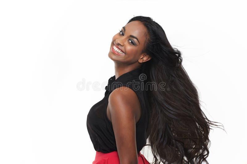 Het geïsoleerdec Indische Glimlachen van het Meisje royalty-vrije stock afbeeldingen