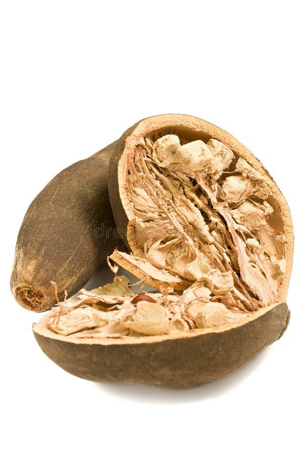 Het geïsoleerden Fruit van de Baobab stock afbeelding