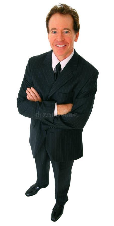 Het geïsoleerder Succesvolle Hogere Glimlachen van de Zakenman stock afbeelding