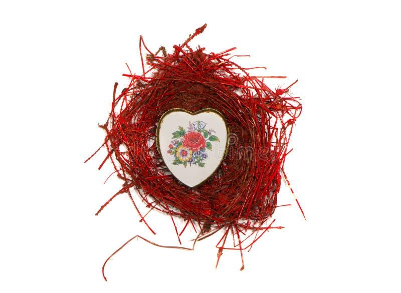 Het geïsoleerdeu nest van de valentijnskaartdag met de doos van de hartvorm stock foto's