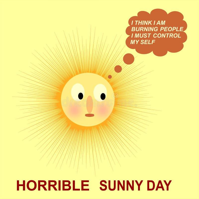 Het geanimeerde bericht voor een afschuwelijke zonnige dagcomputer produceerde achtergrond en behangontwerp vector illustratie