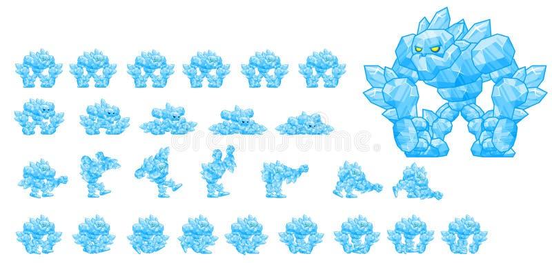 Het geanimeerde Karakter Sprites van Ijsgolem vector illustratie