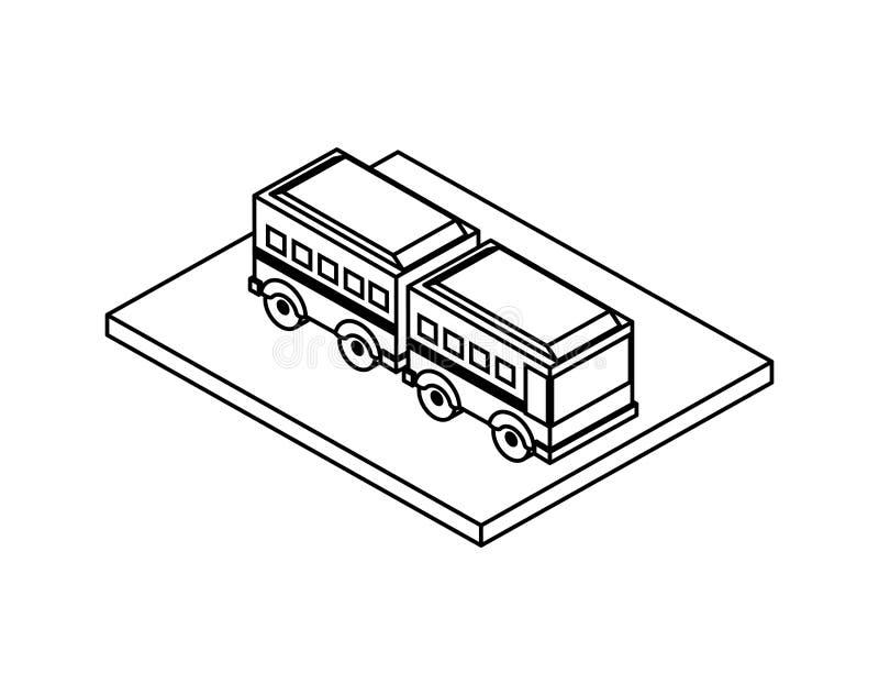 Het gearticuleerde isometrische pictogram van het busvervoer stock illustratie
