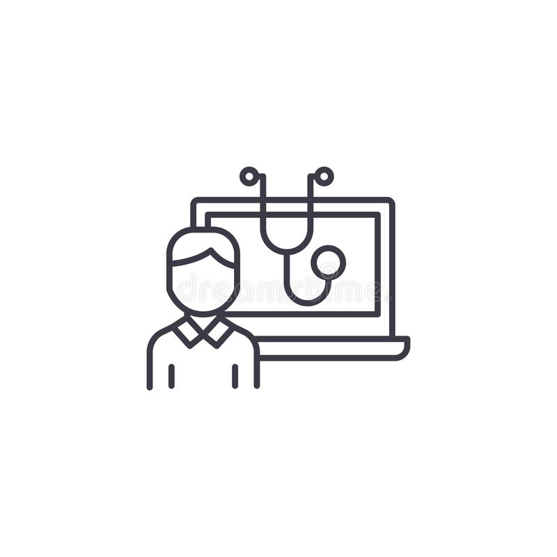 Het geautomatiseerde concept van het diagnostiek lineaire pictogram Het geautomatiseerde vectorteken van de diagnostieklijn, symb vector illustratie