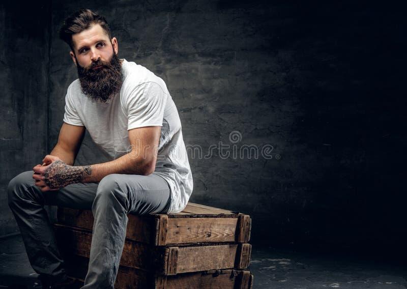 Het gebaarde mannetje met tatoegering op wapen gekleed in een witte t-shirt zit stock afbeeldingen