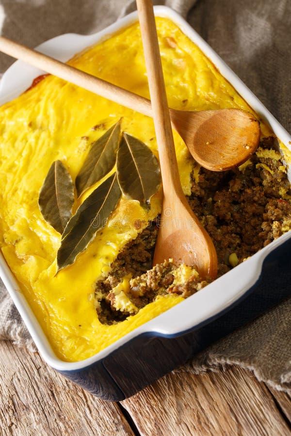 Het gebakken kerrierundvlees hakt behandelde omelet Zuidafrikaanse traditiona fijn stock foto's