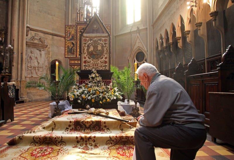 Het gebed vóór het graf van Christus royalty-vrije stock foto's