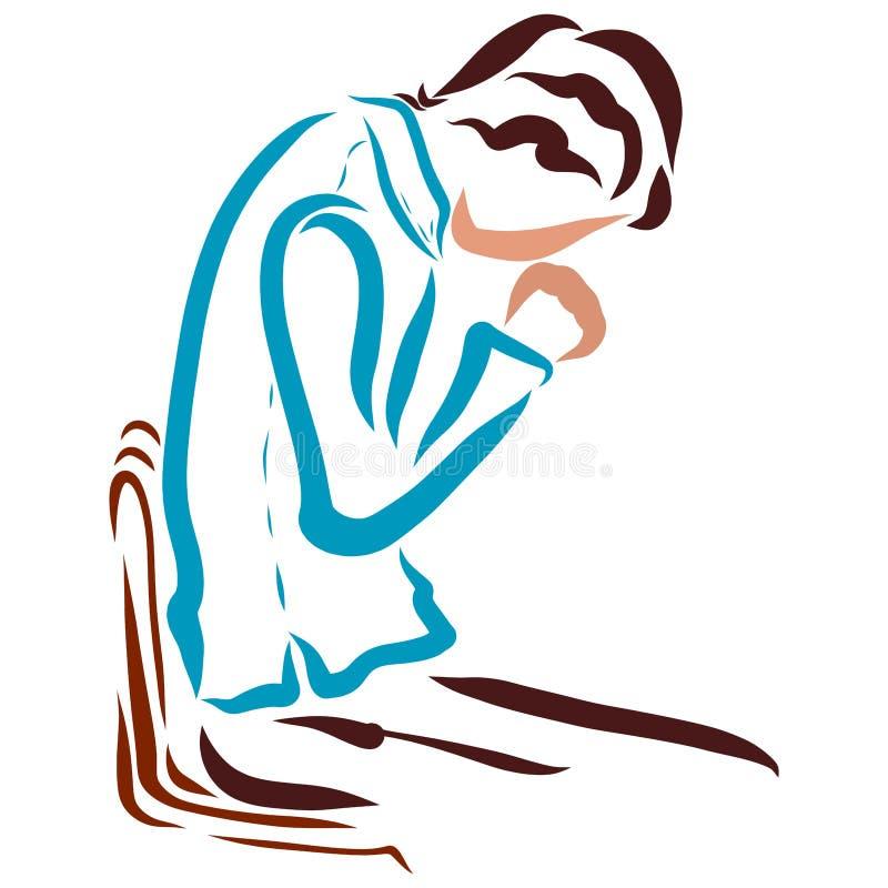 Het gebed van een gelovige of een bekentenis aan God stock illustratie