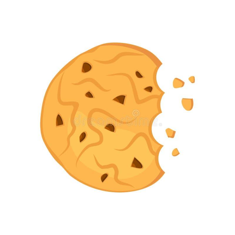 Het gebeten koekje van het chocoladehavermeel Vector illustratie vector illustratie