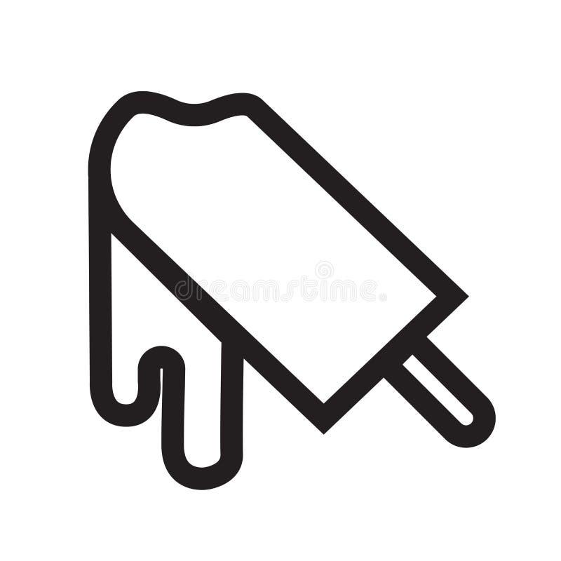 Het gebeten vectordieteken en het symbool van het roomijspictogram op witte B wordt geïsoleerd stock illustratie
