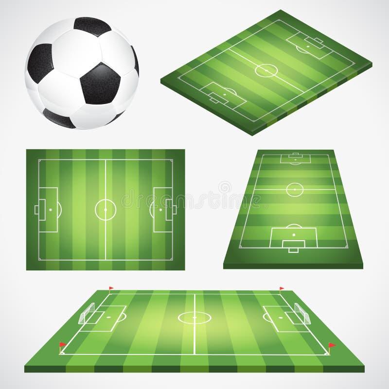 Het Gebied en de Bal van de voetbalvoetbal stock illustratie