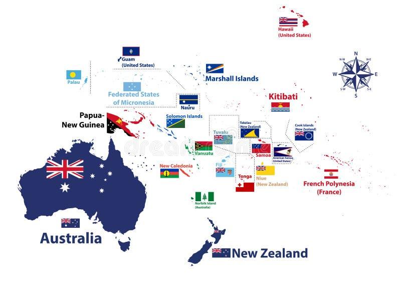 Het gebied van Australië en van Oceanië de vector detailleerde hoog kaart met de namen van landen en nationale vlaggen