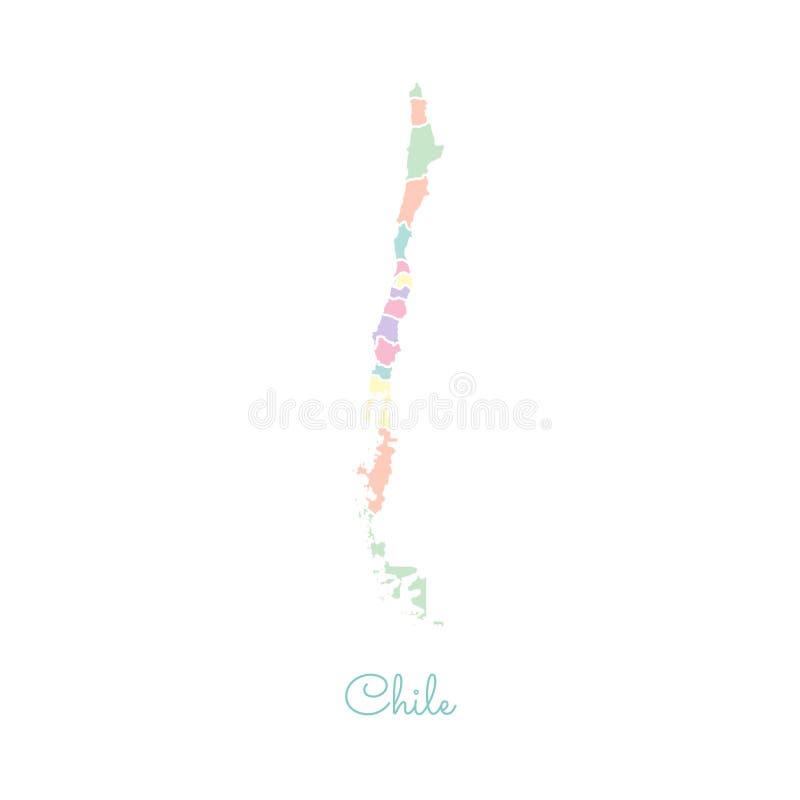 Het gebied van Chili kaart: kleurrijk met wit overzicht royalty-vrije illustratie