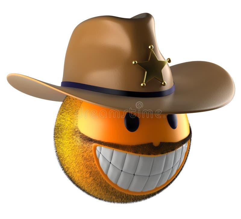 Het gebied van de emojiglimlach van de sheriffstijl stock illustratie