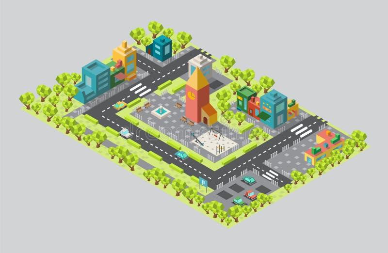 Het gebied van de stad met de toren en straten in isometrisch vector illustratie