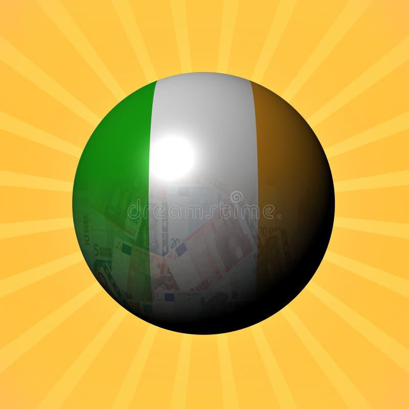 Het gebied van de vlageuro van Ierland op zonnestraalillustratie vector illustratie