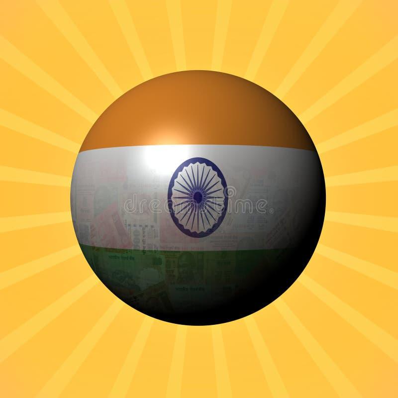 Het gebied van de vlagroepies van India op zonnestraalillustratie vector illustratie