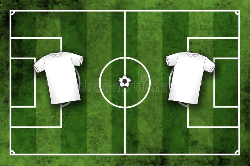 Het gebied van de voetbal of van het voetbal met lege witte overhemden royalty-vrije illustratie
