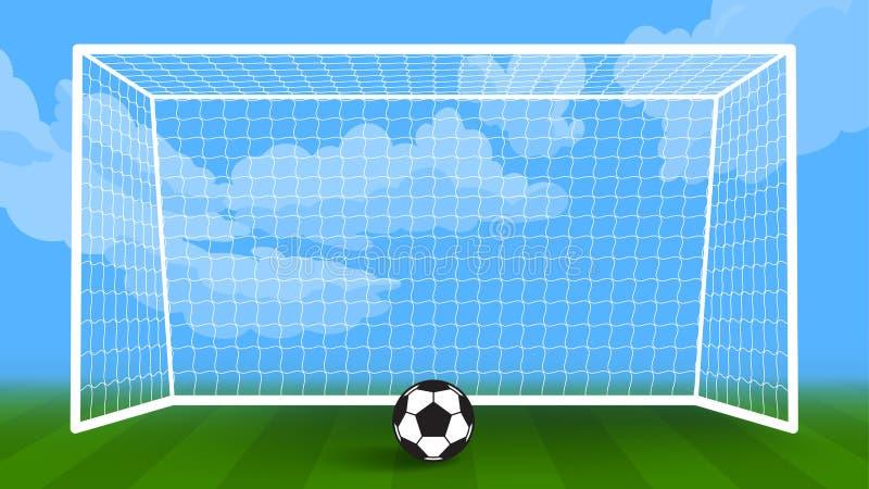 Het gebied van de voetbalbal en doelobjecten vectorachtergrond stock illustratie