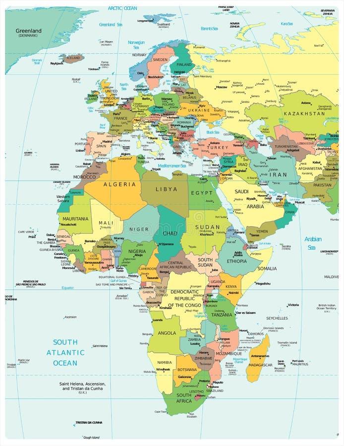 Het gebied van Europa & van Afrika politieke afdelingenkaart vector illustratie