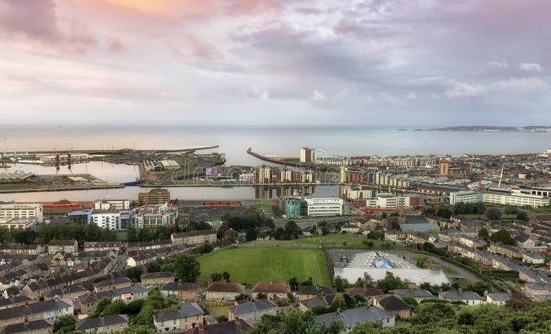 Het gebied van het de stadsdok van Swansea stock afbeelding