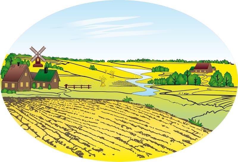 Het gebied van het dorp en van de tarwe stock illustratie