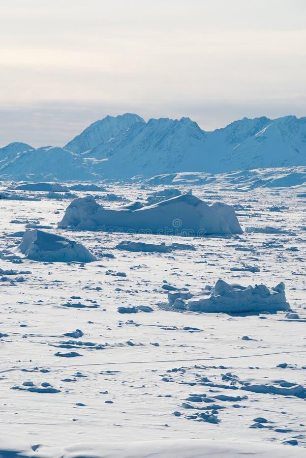 Het gebied van het ijs in Groenland stock foto's