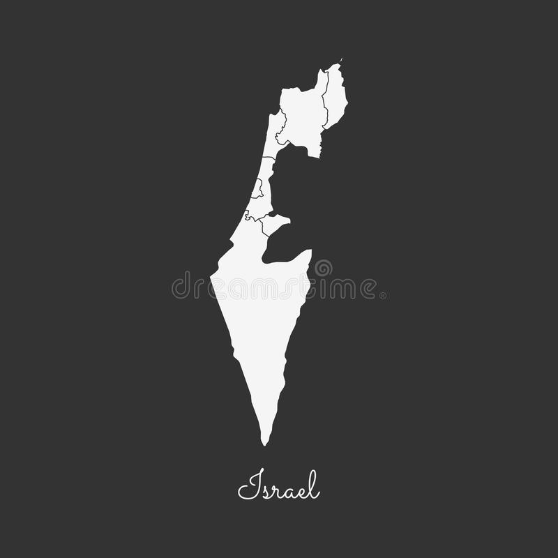 Het gebied van Israël kaart: wit overzicht op grijs royalty-vrije illustratie