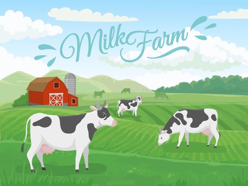 Het gebied van het melklandbouwbedrijf Melkveehouderijenlandschap, koe op boerderijgebieden en van de landbouwkoeien van het land stock illustratie