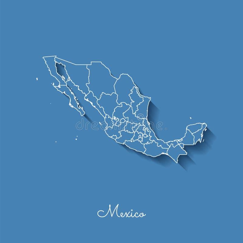 Het gebied van Mexico kaart: blauw met wit overzicht en stock illustratie