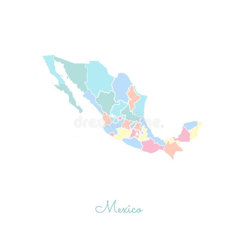 Het gebied van Mexico kaart: kleurrijk met wit overzicht royalty-vrije illustratie