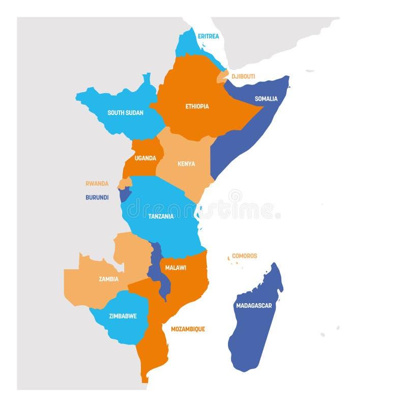 Het Gebied van Oost-Afrika Kaart van landen in oostelijk Afrika Vector illustratie stock illustratie